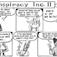 Gado carton on conspiracies around Corona Virus